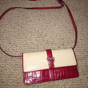 Brighton red crossbody wallet purse